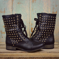 Star Struck Black Studded Military Boot