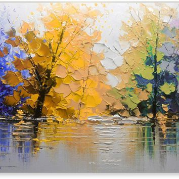 Oil Painting Abstract Modern Contemporary Landscape Art on Canvas Lake in Fall