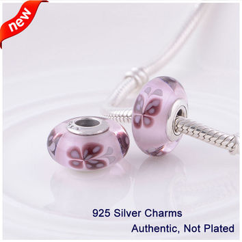 Fits for Pandora Charms Bracelets Pink Butterfly Kisses Murano Glass Beads 925 Sterling Silver Jewelry Free Shipping