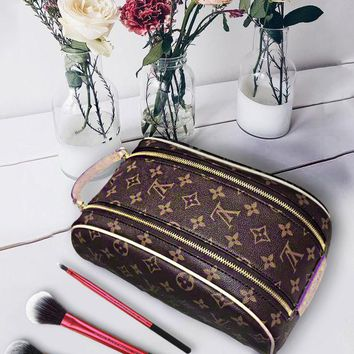LV Louis Vuitton Fashion Women Makeup Bag Cosmetic Bag Double Zipper Purse Wallet