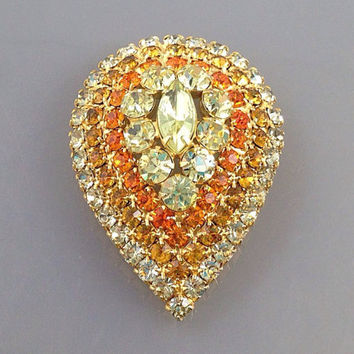 Sunny Vintage Teardrop yellow Rhinestone Brooch, Orange rhinestone brooch, unsigned Designer Jewelry. Large rhinestone stack.