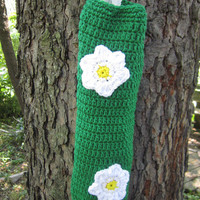 Crochet Plastic Bag Holder Primary Green with White Flowers