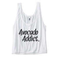 Avocado Addict T Shirt - Womens Flowy Boxy Tank Top - dance shirt, workout shirt, fitness shirt, yoga shirt