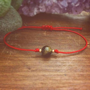 Red Bracelet - Tiger Eye Bracelet - Best Friend Gift - Strength Bracelet - Fitness Motivation - Beaded Bracelet - Red String Bracelet