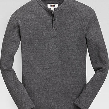 Joseph Abboud Charcoal Modern Fit Henley Shirt - Knits | Men's Wearhouse