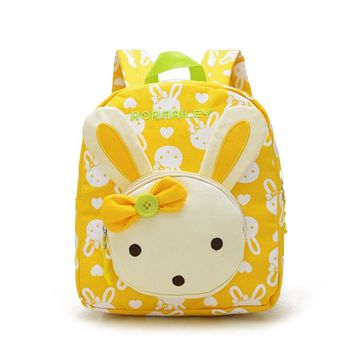 Lovely Cute Kids School Bags Rabbit Bear Dolls Applique Canvas Backpack Mini Baby Toddler Book Bag Kindergarten Rucksacks