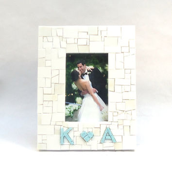 Custom Engagement Picture Frame with Light Blue Couples Initials & Heart // Wedding Gift  // Wedding Frame