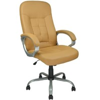 Yellow Leather Executive Office Desk Task Computer Chair w/Metal Base 3026
