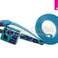 2-in-1 Funky Cheetah Leopard Purple iPhone 4/4s Charger - Also available in iPhone 5 and available in 3 ft and 10 ft long