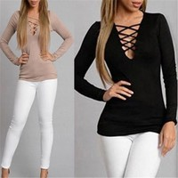 Lady Sexy V-Neck Slim Bandage Lace Up Shirt Long Sleeve Casual Tops Bodycon Shirt