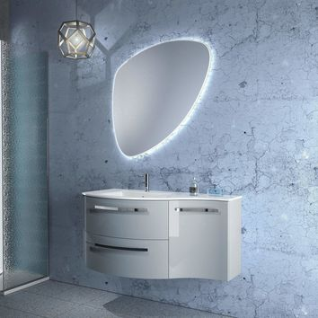 LaToscana Ambra 43 in. Wall Mounted Bathroom Vanity Right Concave Cabinet Set Bath Furniture