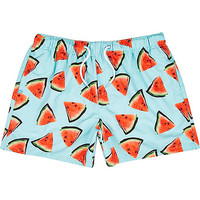 River Island MensAqua watermelon print swim trunks