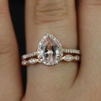 Tabitha and Christie Band 14kt Rose Gold Pear Morganite and Diamonds Halo Wedding Set (Other metals and stone options available)