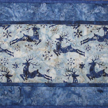 Handmade Quilted Table Runner, Deer Nature Scene, Blue Table Topper