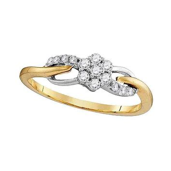 10kt Yellow Gold Women's Round Diamond Flower Cluster Infinity Ring 1/4 Cttw - FREE Shipping (US/CAN)
