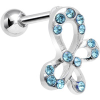 Aqua Gem Butterfly in a Bow Tragus Cartilage Earring