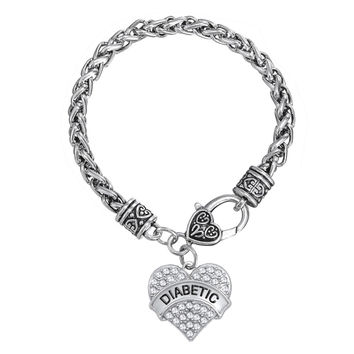 Silver Diabetic Awareness Heart Bracelet
