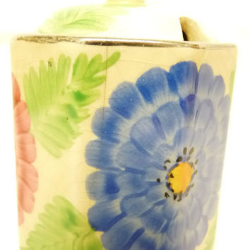 Preserve or Jam pot with Lid, by Arthur Wood, Made in England, Hand Painted with Flowers and Foliage, collectable, 1930's