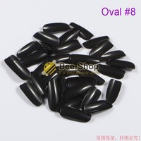 500pcs/pack Black Full Cover Oval Nail Tips French Nail Art Tips Acrylic Nails Fake Nail Tips Unghie Finte False Tips Oval #8