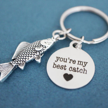 You're my best catch, Heart, Fish, Keychain, Love, Catch, Keyring, Lovers, Best friend, Sister, Gift, Key chain, Key ring, Accessory