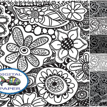 Black and White Doodle digital paper Doodling Zentangle Instant download Digital Scrapbook paper set Printable paper Pack of backgrounds