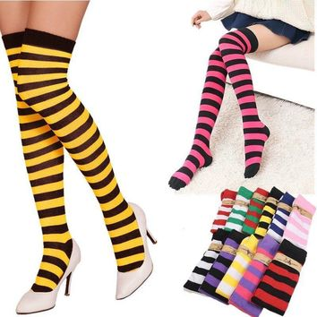 1Pair Over Knee Long Stripe Printed Thigh High Striped Patterned Socks 11 Colors
