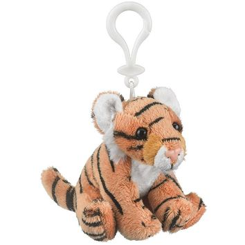 "Wildlife Tree 4"" Tiger Stuffed Animal Clips for Kids Backpack Toy"