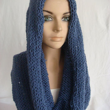 Hand Knitted Hooded Cowl/Scarf/Neck Warmer (Navy) by Arzu's Style