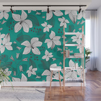 Avery Aqua Wall Mural by heatherduttonhangtightstudio