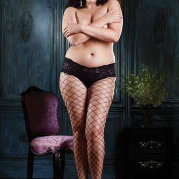 Plus Size Diamond Pantyhose (Plus Size,Black)