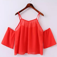 Strappy Shoulder Cutout Chiffon Top