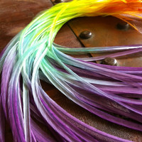 Long Real Feather Extensions Pastel Neon Rainbow Tie Dyed Hair Feathers For Ombré Feather Hair Extensions (10-11inch)