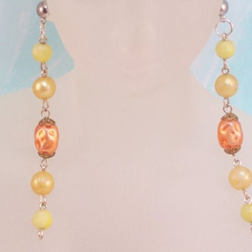 Orange and Yellow Plastic Beads Shoulder Duster Dangle Earrings Style 4