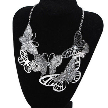 Fashion Women's Vintage Pretty Butterfly Hollow Statement Chain Necklace