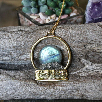 Gypsy Crystal Ball Necklace, Labradorite Jewelry, Gypsy Style, Bohemian Jewelry, Boho Chic Crystal Necklace, Stone Necklace, Gypsy Jewelry