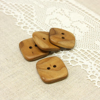 Square wood buttons. Set of 4 natural rowan wood buttons size 1 in (25mm) - R0440