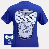 UK Kentucky Wildcats Big Blue Mason Jar Bow Girlie Bright T Shirt