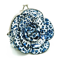 Floral rosette coin purse with kiss-lock closure - Turquoise Color: Turquoise Leopard Print