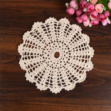 Hand Crochet Lace Table Placemat Wedding Decor Retro Table Cup Mat Decor Coffee Cup Drink Placemat Coasters Round Cotton Yarn