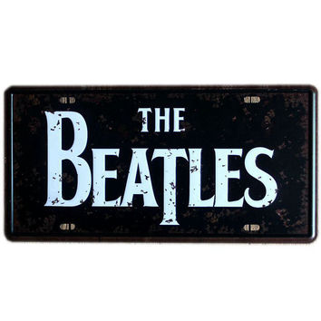 [ Mike86 ] The BEATLES license plate Art Retro Metal Plaque bar Family Gift Party Craft Painting Wall Decor 30X15 CM D-281