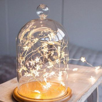 Copper Wire Twinkle LED Star String Lights