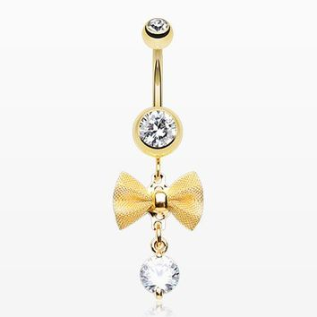 Golden Dainty Bow-Tie Belly Button Ring