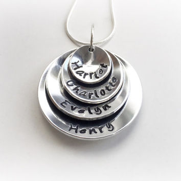 Hand stamped stacked domed mothers necklace