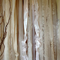 Wedding Garland Curtain Backdrop Floor Length - Rustic, Tattered, Shabby, Cottage, Chic, Boho - Photo Booth - Lace Pearls 5 ft x 6 ft