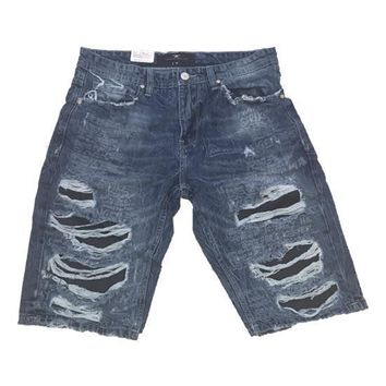 Jordan Craig - Mens - Laser Print Denim Shorts