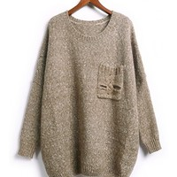 FREE SHIPPING Coffee Rivet Pocket Knitting Casual Sweater MF80169 from DressLoves