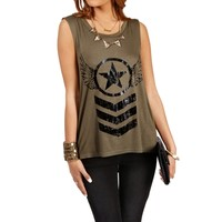 SALE- Olive Stars and Stripes Tank