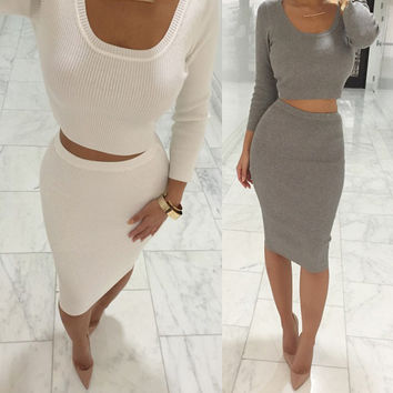 Autumn Winter 2 Pcs Women Sets Long Sleeve Midi Pencil Bodycon Vestidos Casual Office Clothing Elegant Slim Bandage Dresses