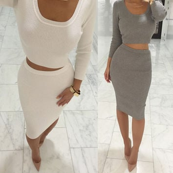 2015 Autumn Winter 2 Pcs Women Sets Long Sleeve Midi Pencil Bodycon Vestidos Casual Office Clothing Elegant Slim Bandage Dresses