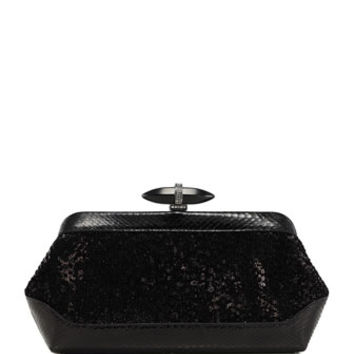 Judith Leiber Couture Whitman Sequin & Snake Clutch Bag, Black